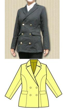画像1: Wボタンのテーラードジャケットフェミニンタイプの型紙 レディース