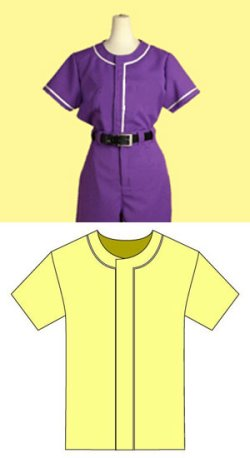 画像1: 野球ユニフォーム風上着の型紙 レディース