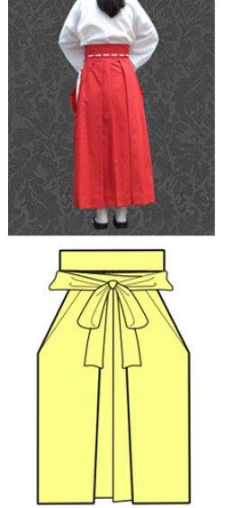 画像1: 巫女キャラクターのコスプレに コスプレ用緋袴(スカートタイプ)の型紙 レディース