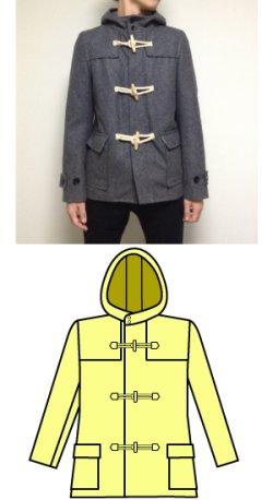 画像1: ダッフルコートの型紙紳士 【委託商品】