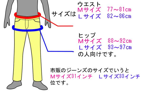 メンズ長ズボンの型紙のサイズ