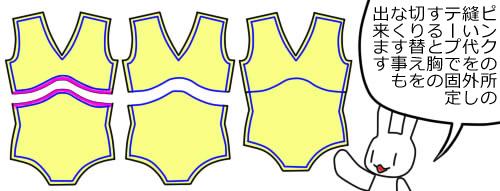 型紙の胸の縫い代を外してテープ等で張り合わせただけで切り替え無しのレオタードも作れますよ