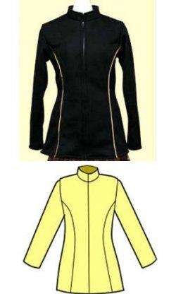 画像1: 細身のハイネックのジャケットの型紙 レディース