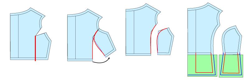 ドール服の型紙の改造