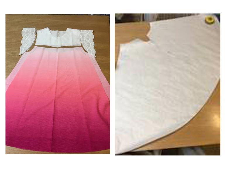 裾模様のあるオーガンジーでフィッシュテールスカートのような形にするには