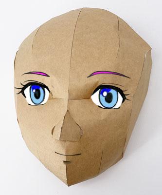 立体的なお面の型紙
