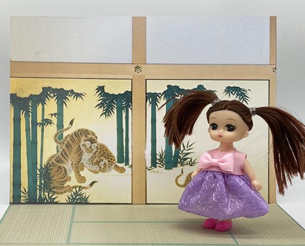 10cm前後の人形向け和風背景 虎